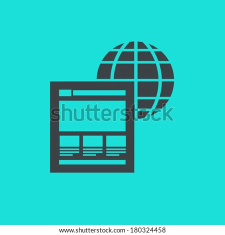 vector flat design icon of on page factors with globe and website for web design and seo search engine optimization infographic pictogram isolated on green background - stock vector