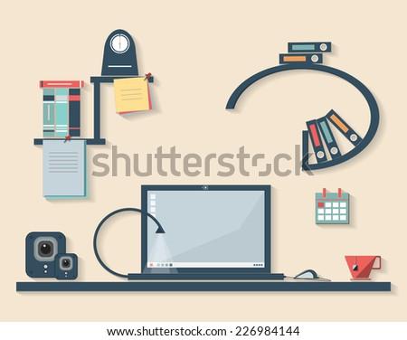 Vector flat design illustration of modern business office - stock vector