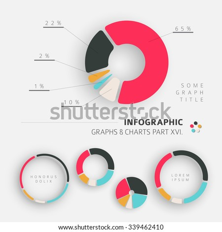 Vector flat design infographic elements - pie charts - 16. part of my infographic bundle - stock vector
