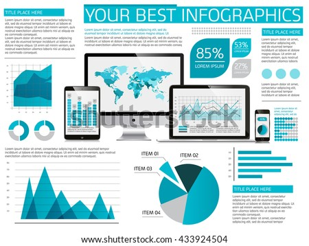 Vector flat design IT Industry Infographic elements collection. Devices vector illustration with various of charts, pie, diagrams and infographic map for data visualization. Modern blue and gray color - stock vector