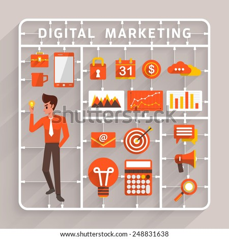 Vector flat design model kits for digital marketing.Element for use to success business and analysis information - stock vector