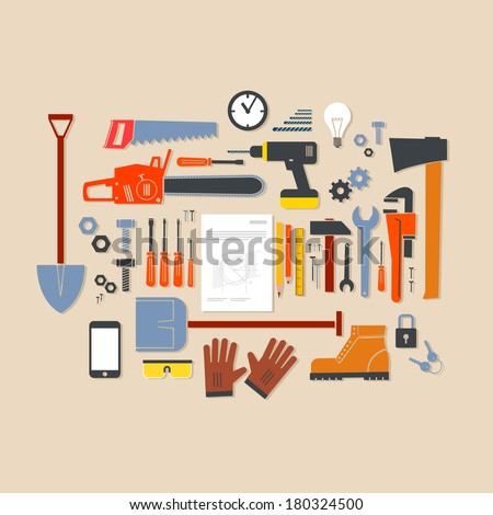 Vector flat design modern illustration icons set of craft, tools and equipment | craftsman infographics Isolated on stylish colored background - stock vector