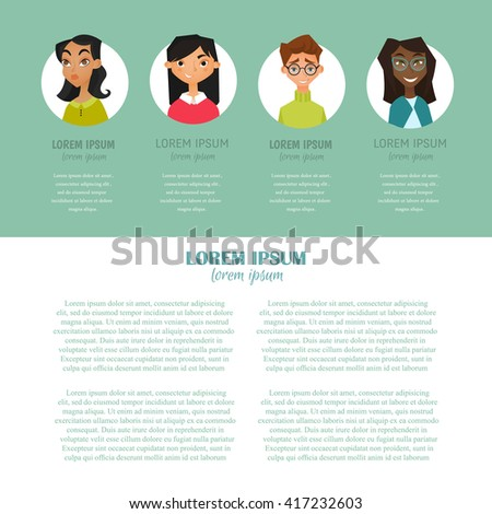 Vector flat design of different characters with man and women. Colorful web page with people and place for your text. Flat character  icon. People avatars