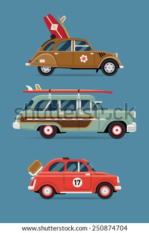 Vector flat design private transport icons on travel retro leisure cars featuring retro old surf cars and basket picnic small city vintage car - stock vector