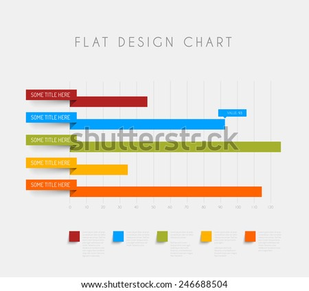 Vector flat design statistics column horizontal graphs - stock vector