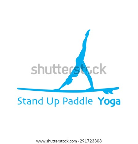 Vector flat design style illustration of stand up paddle yoga logotype with stand up paddle and woman silhouette. Template for postcard, personal card or print. - stock vector