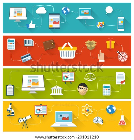 Vector flat design website ui and infographics concept template. - stock vector