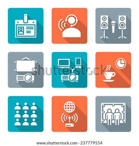 vector flat design white conference theme icons with shadow - stock vector
