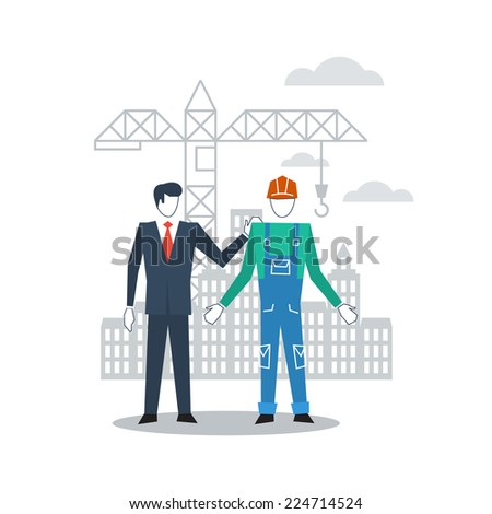 vector flat design worker and manager communication - stock vector
