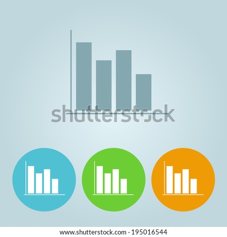 Vector flat diagram icons on blue background - stock vector