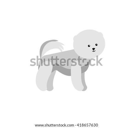 Vector flat dog. Vector detailed dog Isolated on white. Vector detailed - stock vector
