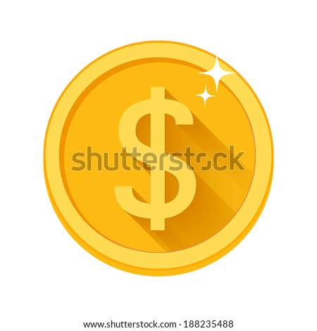 Vector flat dollar icon with long shadow isolated on white background