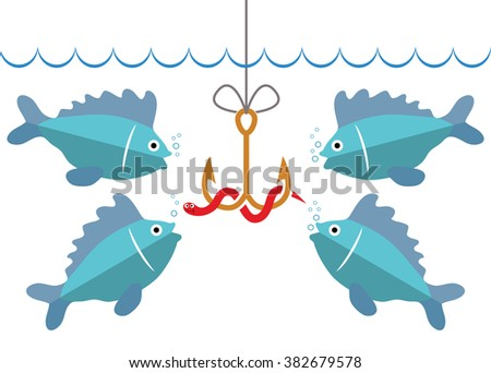 vector flat fishing icon with hook, bait and hungry fishes - stock vector