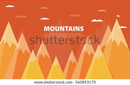 Vector flat flag on mountain. Success illustration. Goal achievement. Business concept. - stock vector