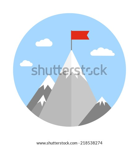 Vector flat flag on mountain. Success illustration. Goal achievement. Business concept. Winning of competition or triumph design. - stock vector