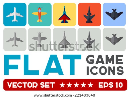 Vector flat game icons set. Combat aircraft - stock vector