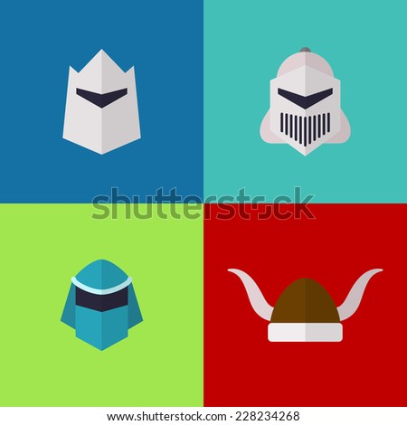 Vector flat game icons set. Medieval helmets - stock vector