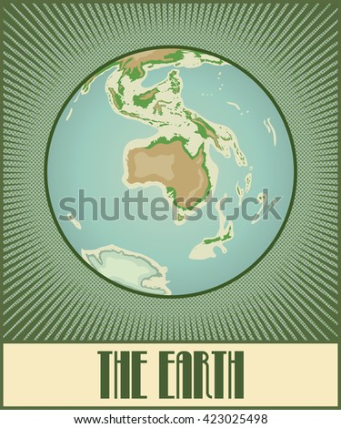 Vector flat globe of the Earth with Australia side. Made in pop art / comic book / retro style with Ben-Day dots. With a few gradients and transparencies. - stock vector