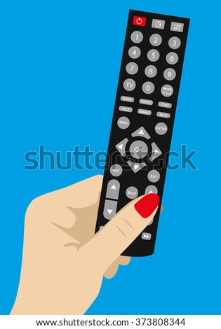 Vector flat.Hand holding Remote TV Control - stock vector