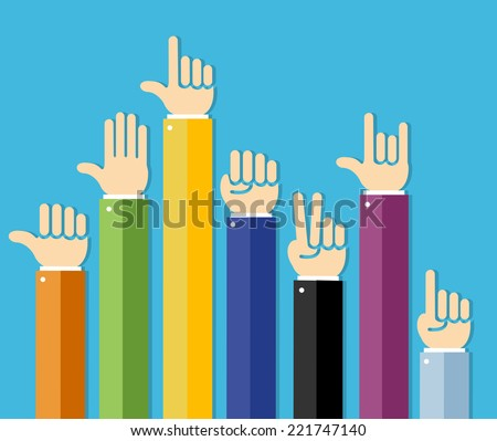 Vector flat Hands Set on white background - stock vector