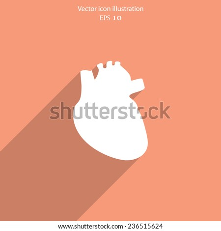 Vector flat heart icon. Eps 10. - stock vector
