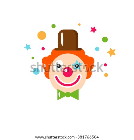Vector flat holiday background. Clown. Smile. Happy Birthday card. Kids party and celebration. Baby Birthday, Kids Birthday, holiday. Circus. Clown icon. - stock vector