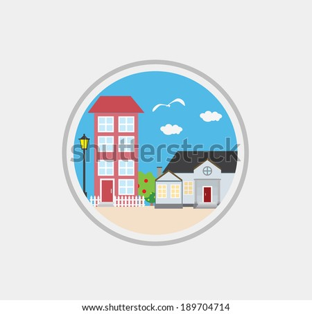 vector flat houses and trees, design elements, street - stock vector