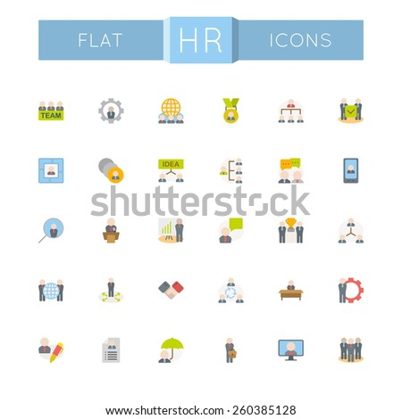 Vector Flat HR Icons - stock vector