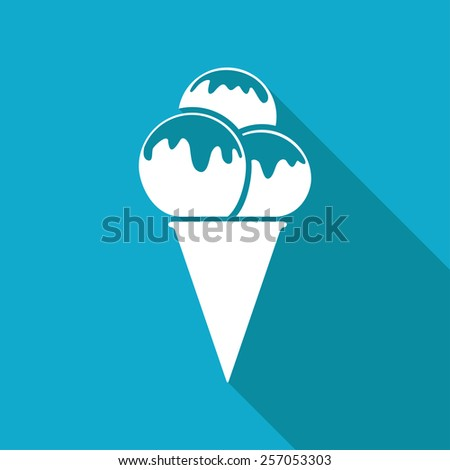 Vector flat ice-cream icon isolated on blue background. Eps10