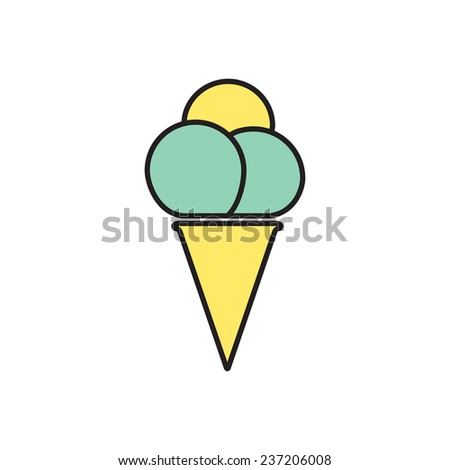 Vector flat ice-cream icon  isolated outline. Eps10