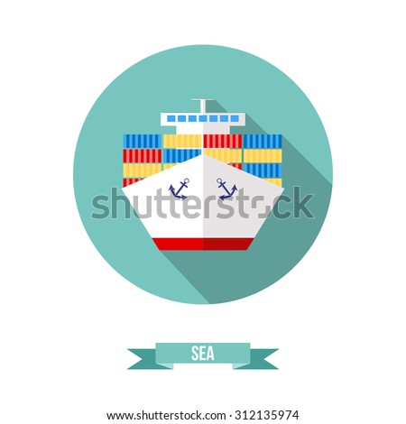 Vector flat icon. ectransport ship - stock vector
