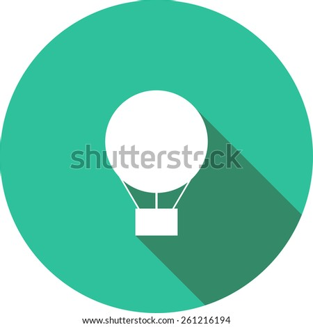 Vector Flat Icon of Hot air balloon. Isolated on stylish color background. Element with a long shadow. Modern illustration for web and mobile. - stock vector
