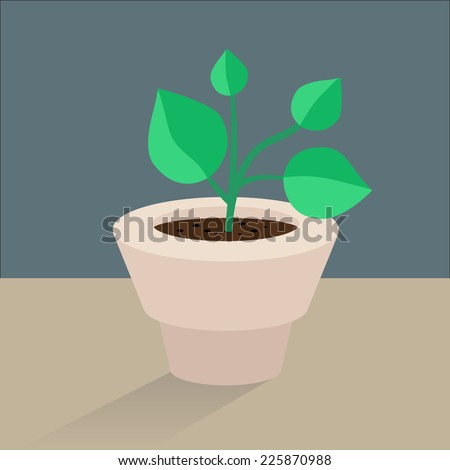 Vector flat icon plant pot - stock vector