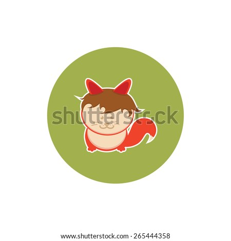 Vector flat icon. Red Fox with orange bangs  - stock vector