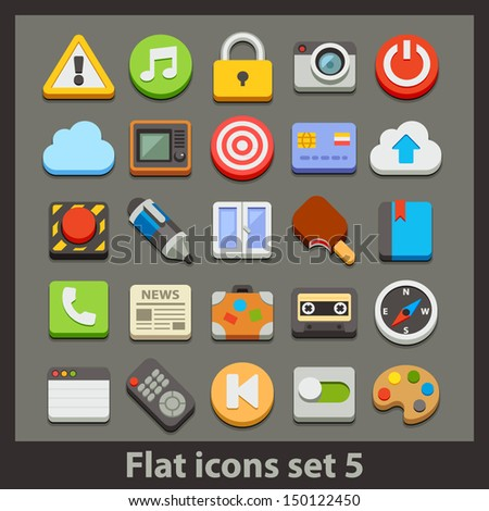 vector flat icon-set 5 - stock vector