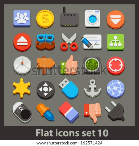 vector flat icon-set 10 - stock vector