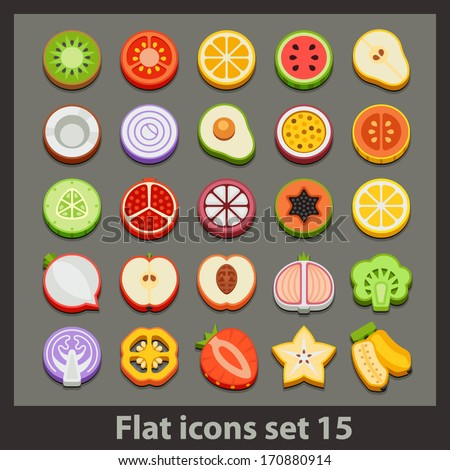 vector flat icon-set 15 - stock vector