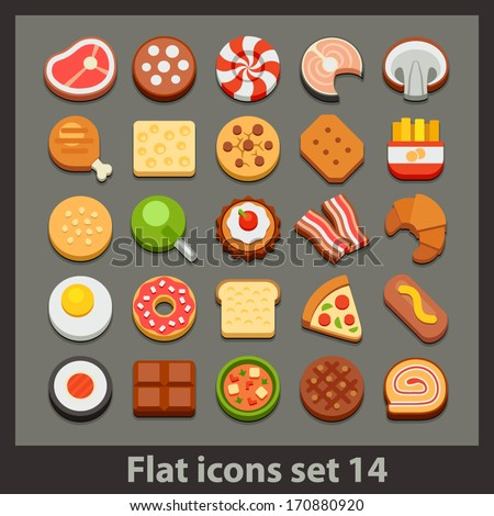 vector flat icon-set 14 - stock vector