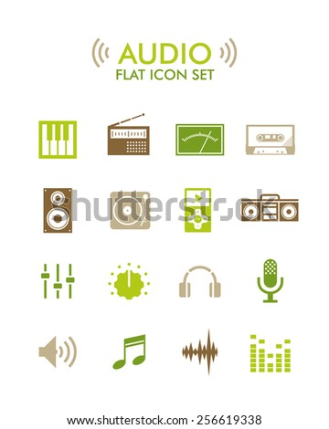 Vector Flat Icon Set - Audio - stock vector