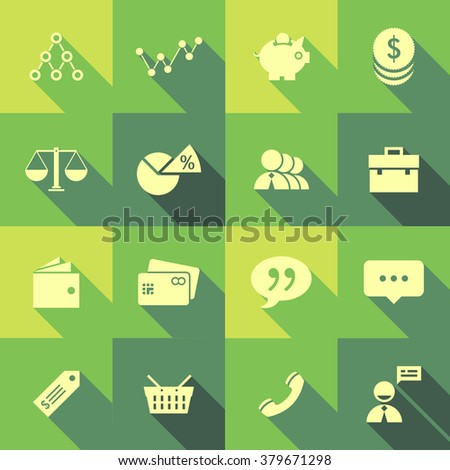 Vector Flat Icon Set - Business  - stock vector