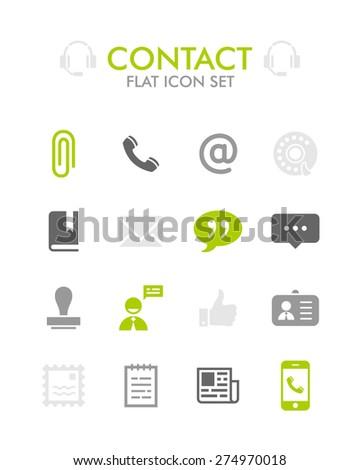 Vector Flat Icon Set - Contact  - stock vector