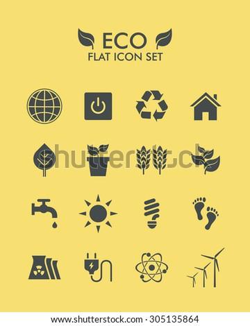 Vector Flat Icon Set - Eco - stock vector