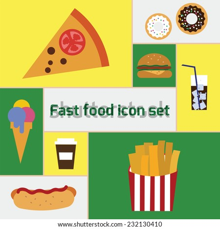 Vector flat icon set fast food. EPS 10 - stock vector