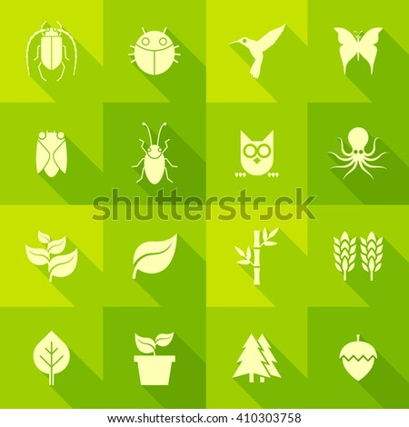 Vector Flat Icon Set - Flora and Fauna