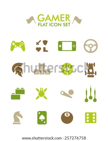 Vector Flat Icon Set - Gamer - stock vector