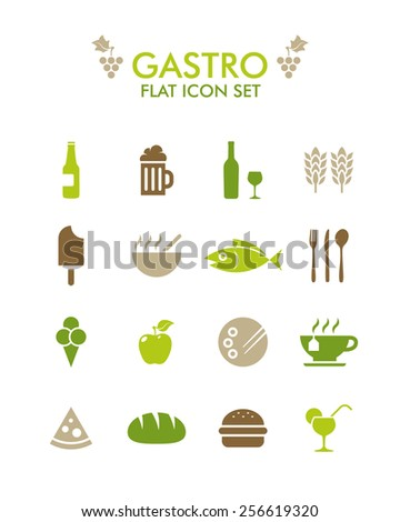 Vector Flat Icon Set - Gastronomy - stock vector