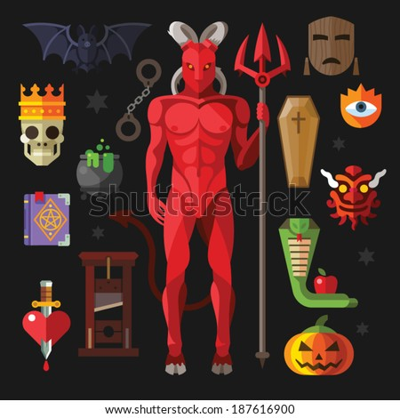 Vector flat icon set  hell: demon, devil, coffin, mask, guillotine, potion, spell, bat, book, snake, apple, heart, sword in flat style  - stock vector