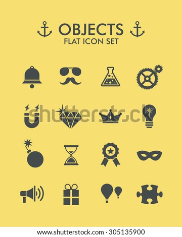 Vector Flat Icon Set - Objects  - stock vector