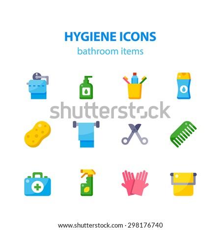 Vector Flat Icon Set Of Hygiene (bathroom Items). Toilet Paper, Liquid Soap