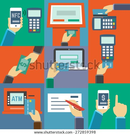 Vector flat icon set of payment methods such as credit card, nfc, mobile app, atm, terminal, website, cash and check - stock vector